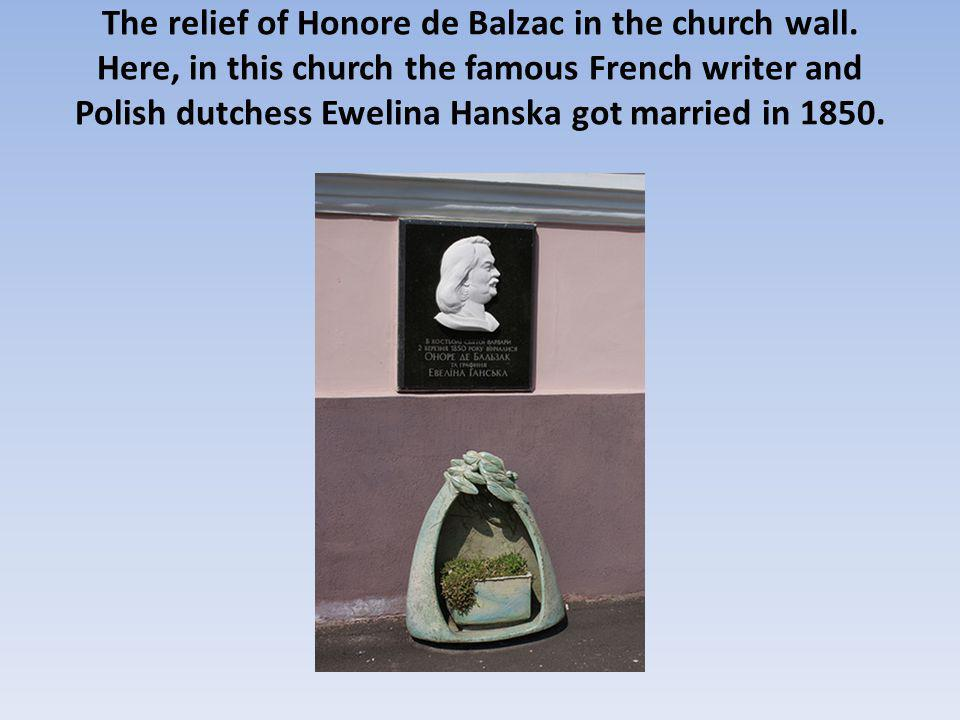 The relief of Honore de Balzac in the church wall