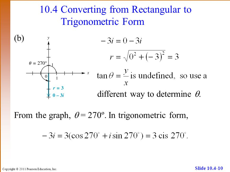 10.4 Converting from Rectangular to Trigonometric Form