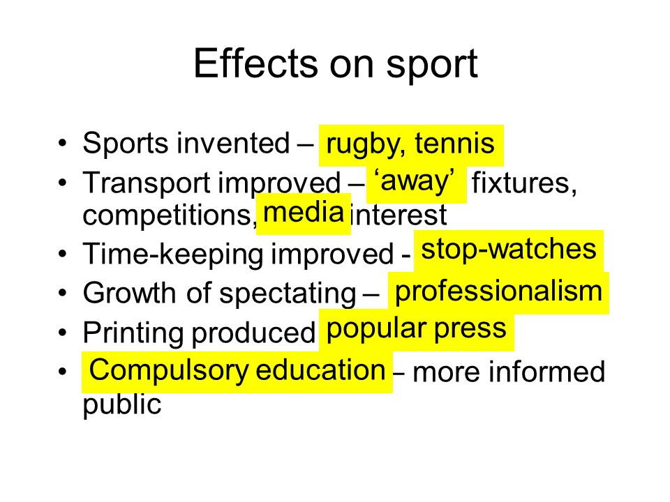 Effects on sport Sports invented –