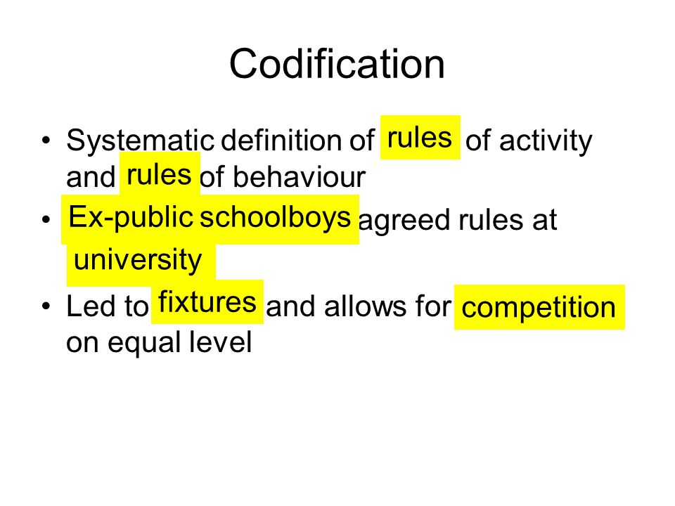 Codification Systematic definition of of activity and of behaviour. agreed rules at.