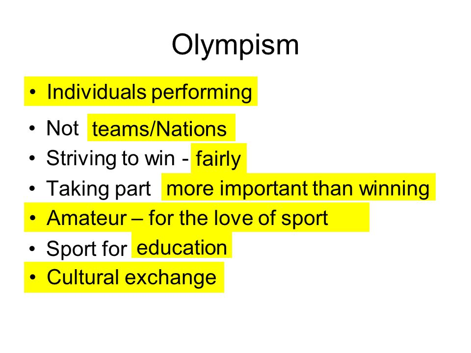 Olympism Individuals performing Not Striving to win - teams/Nations