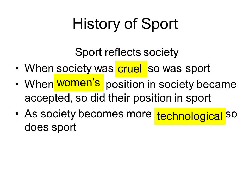 Sport reflects society
