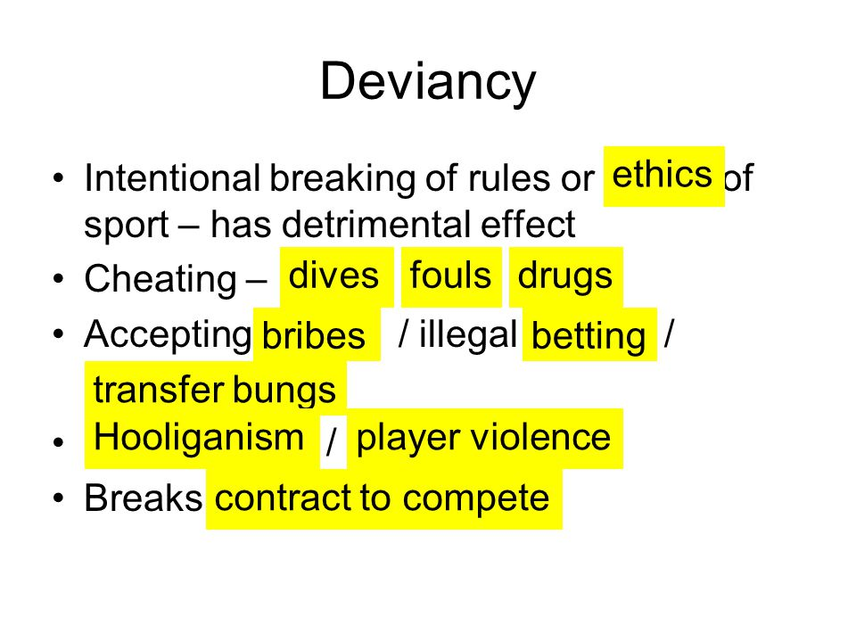 Deviancy Intentional breaking of rules or of sport – has detrimental effect. Cheating –