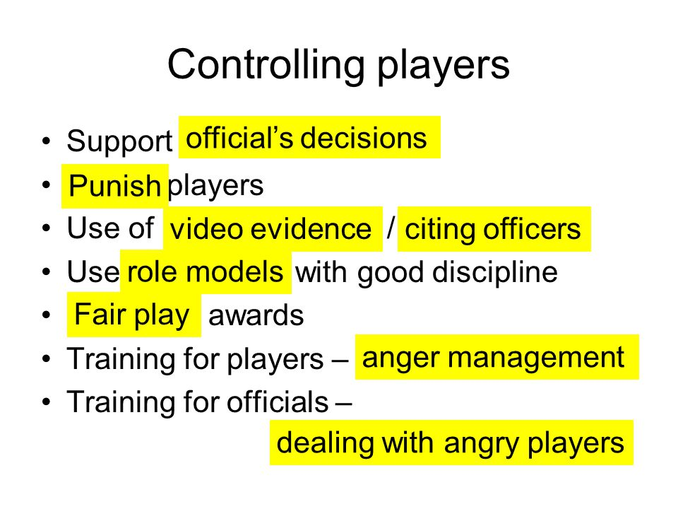 Controlling players Support players Use of / Use with good discipline