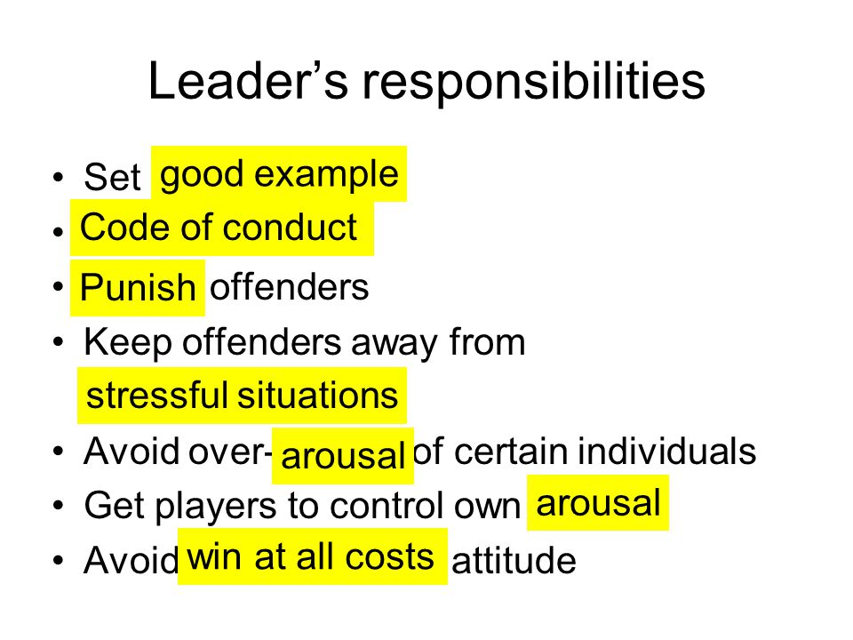 Leader's responsibilities