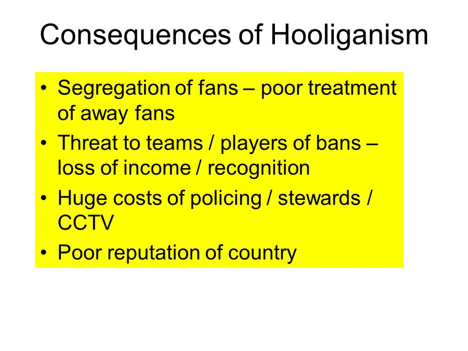 Consequences of Hooliganism