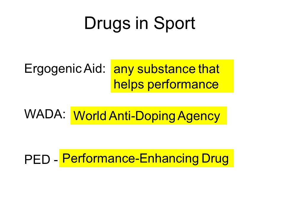 Drugs in Sport Ergogenic Aid: any substance that helps performance