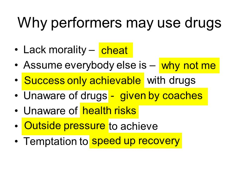 Why performers may use drugs