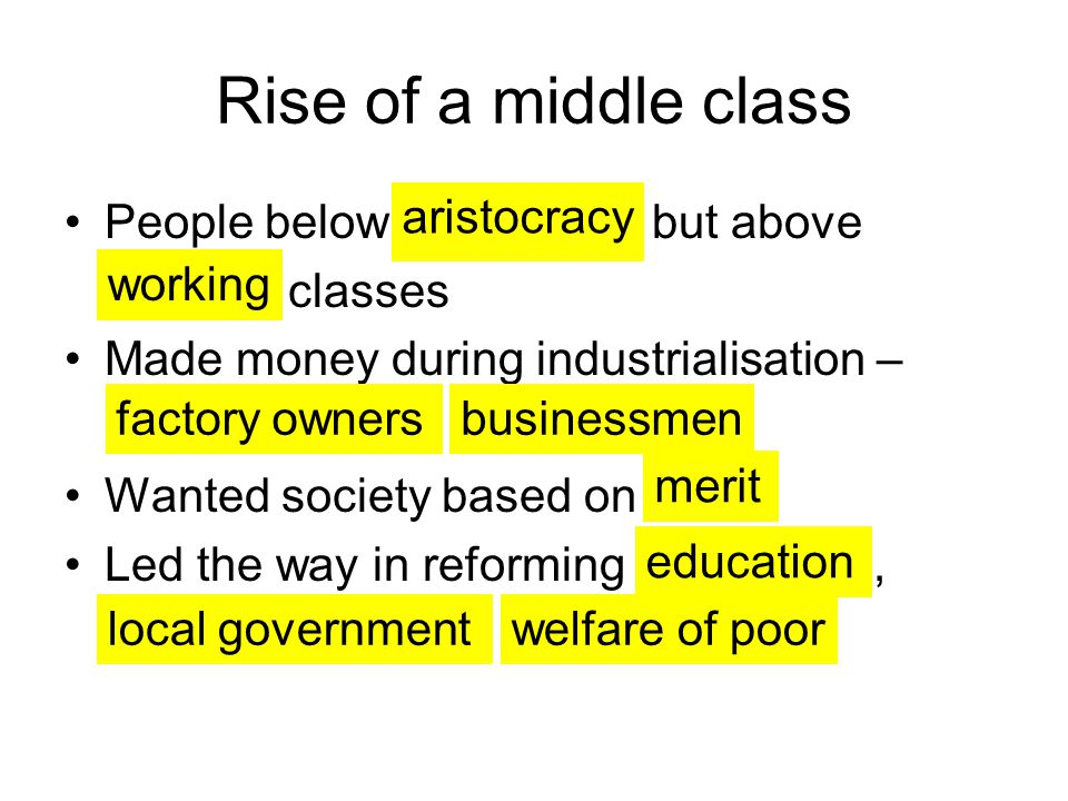 Rise of a middle class People below but above classes