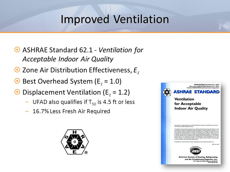 Improved Ventilation ASHRAE Standard 62.1 - Ventilation for Acceptable Indoor Air Quality. Zone Air Distribution Effectiveness, Ez.