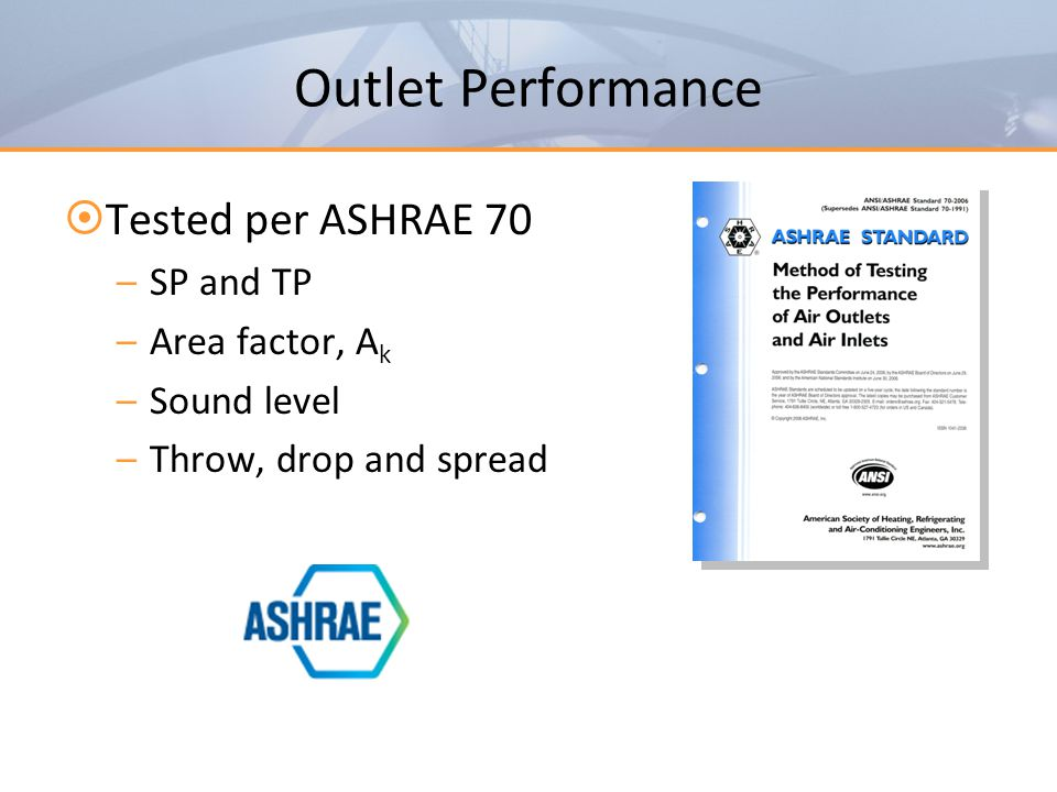 Outlet Performance Tested per ASHRAE 70 SP and TP Area factor, Ak