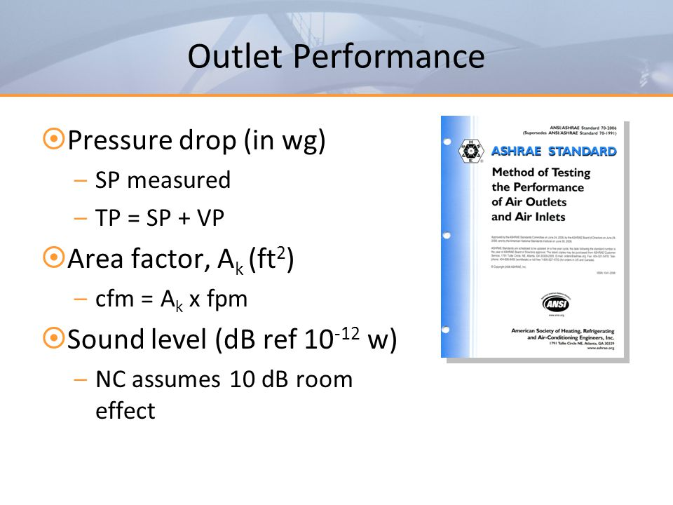 Outlet Performance Pressure drop (in wg) Area factor, Ak (ft2)