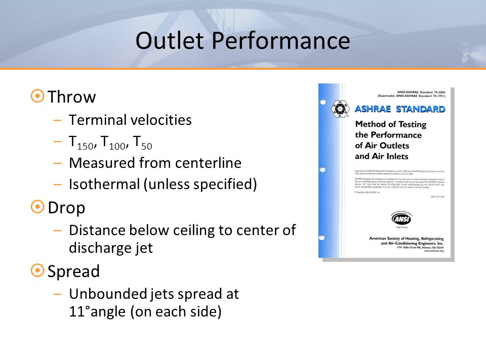 Outlet Performance Throw Drop Spread Terminal velocities