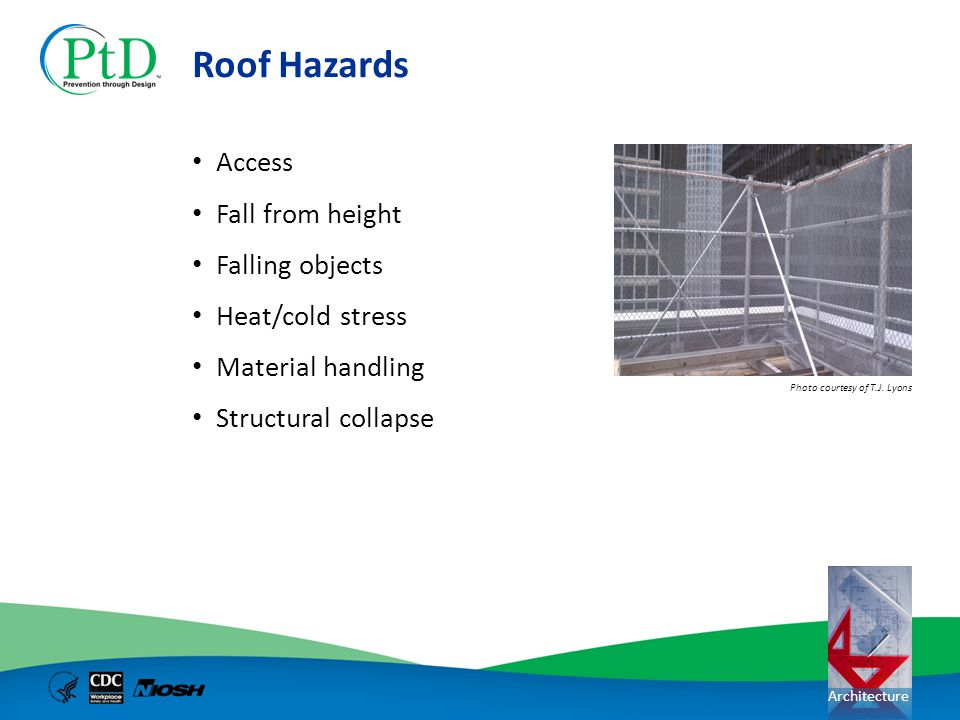 Roof Hazards Access Fall from height Falling objects Heat/cold stress