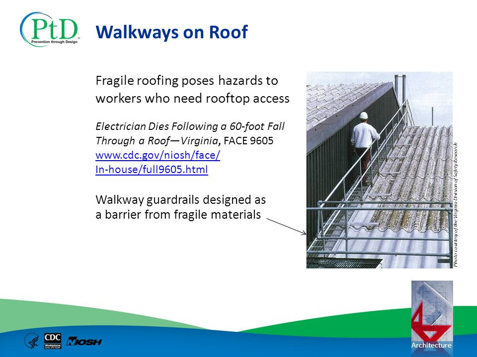 Walkways on Roof Fragile roofing poses hazards to workers who need rooftop access.