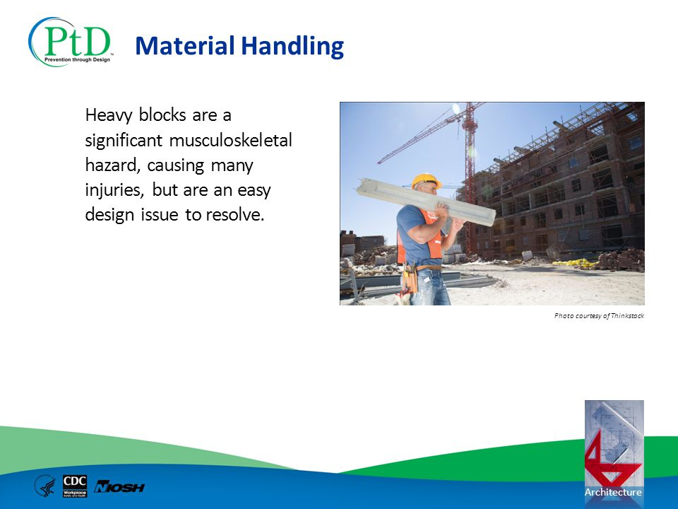 Material Handling Heavy blocks are a significant musculoskeletal hazard, causing many injuries, but are an easy design issue to resolve.