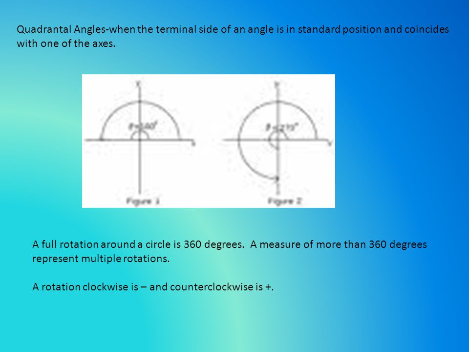Quadrantal Angles-when the terminal side of an angle is in standard position and coincides with one of the axes.