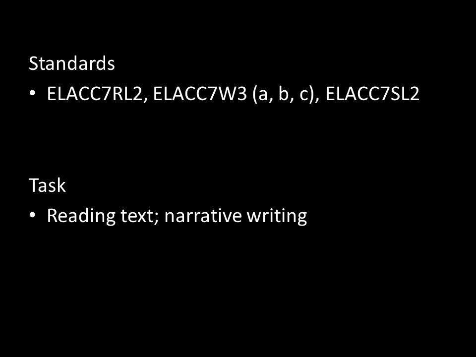 Standards ELACC7RL2, ELACC7W3 (a, b, c), ELACC7SL2 Task Reading text; narrative writing