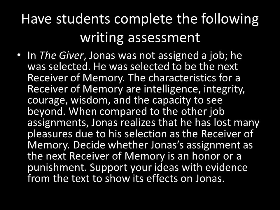 Have students complete the following writing assessment