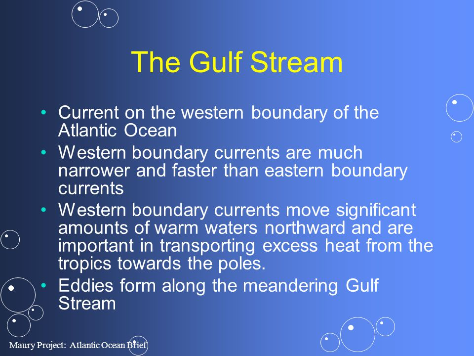 The Gulf Stream Current on the western boundary of the Atlantic Ocean