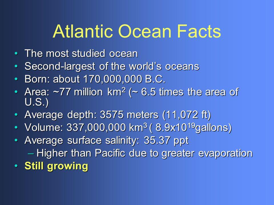 Atlantic Ocean Facts The most studied ocean