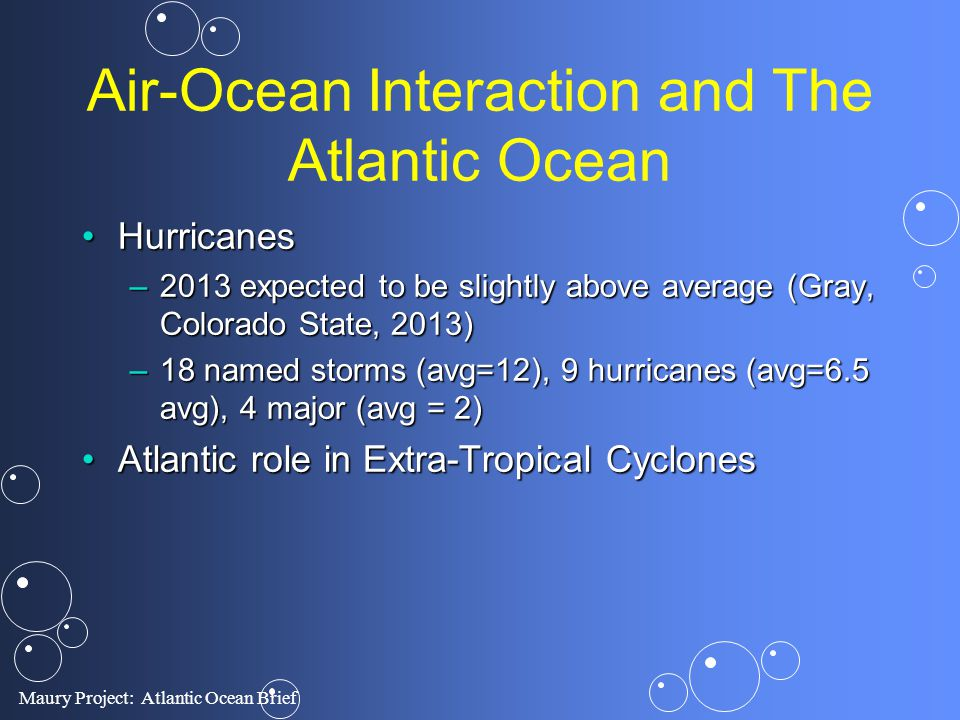 Air-Ocean Interaction and The Atlantic Ocean
