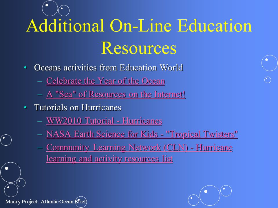 Additional On-Line Education Resources