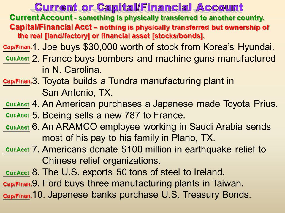 Current or Capital/Financial Account
