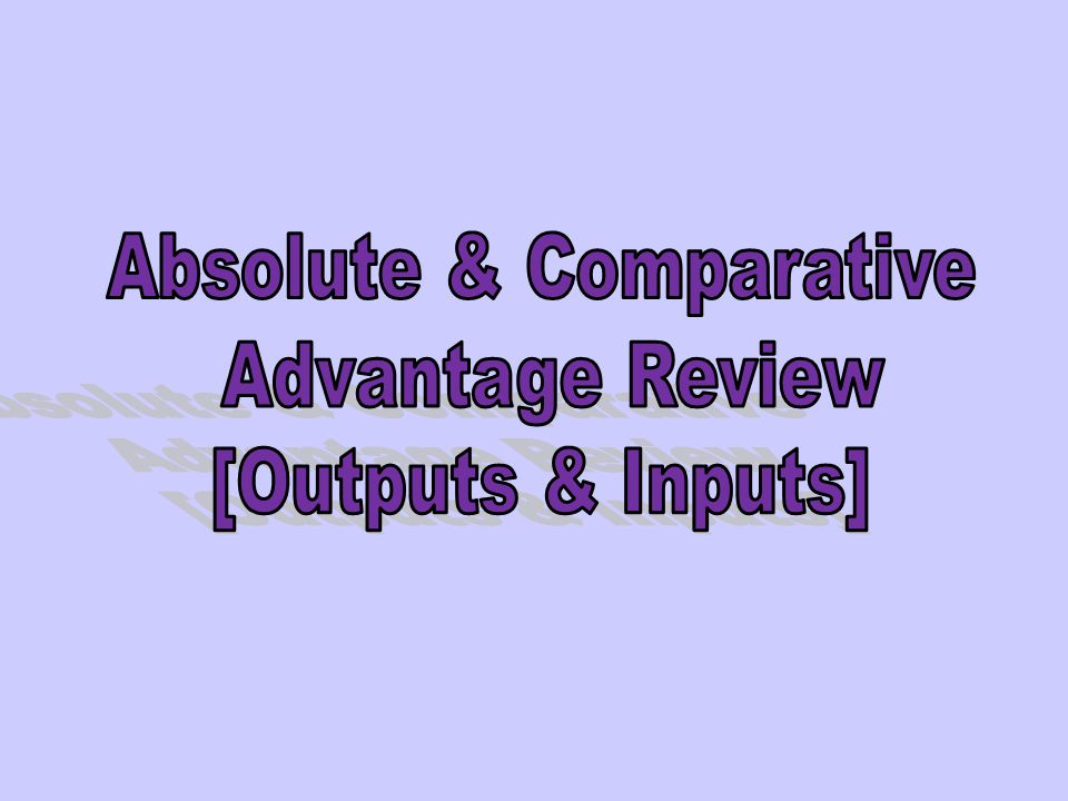 Absolute & Comparative