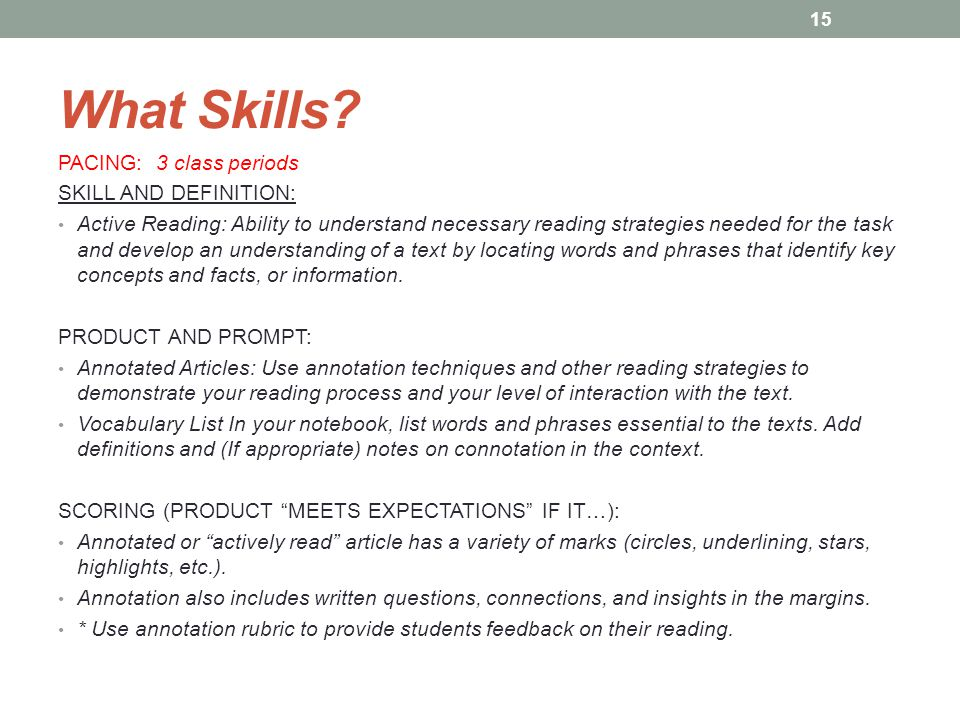 What Skills PACING: 3 class periods SKILL AND DEFINITION: