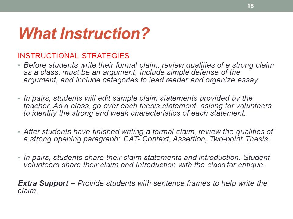 What Instruction INSTRUCTIONAL STRATEGIES