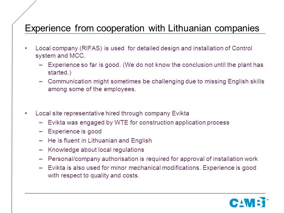 Experience from cooperation with Lithuanian companies
