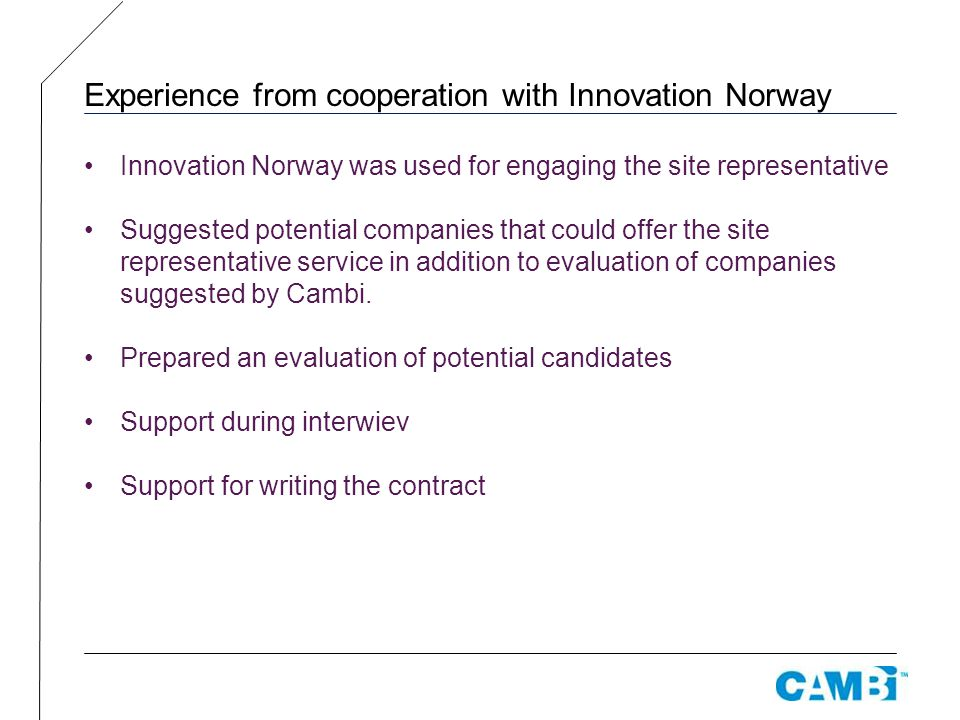 Experience from cooperation with Innovation Norway