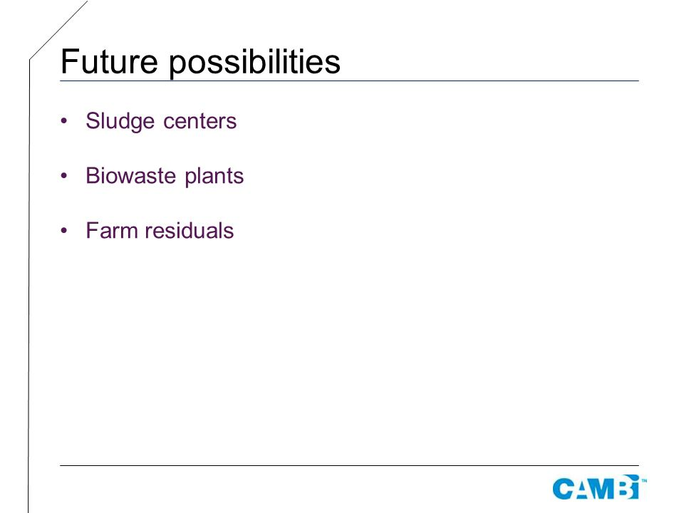 Future possibilities Sludge centers Biowaste plants Farm residuals