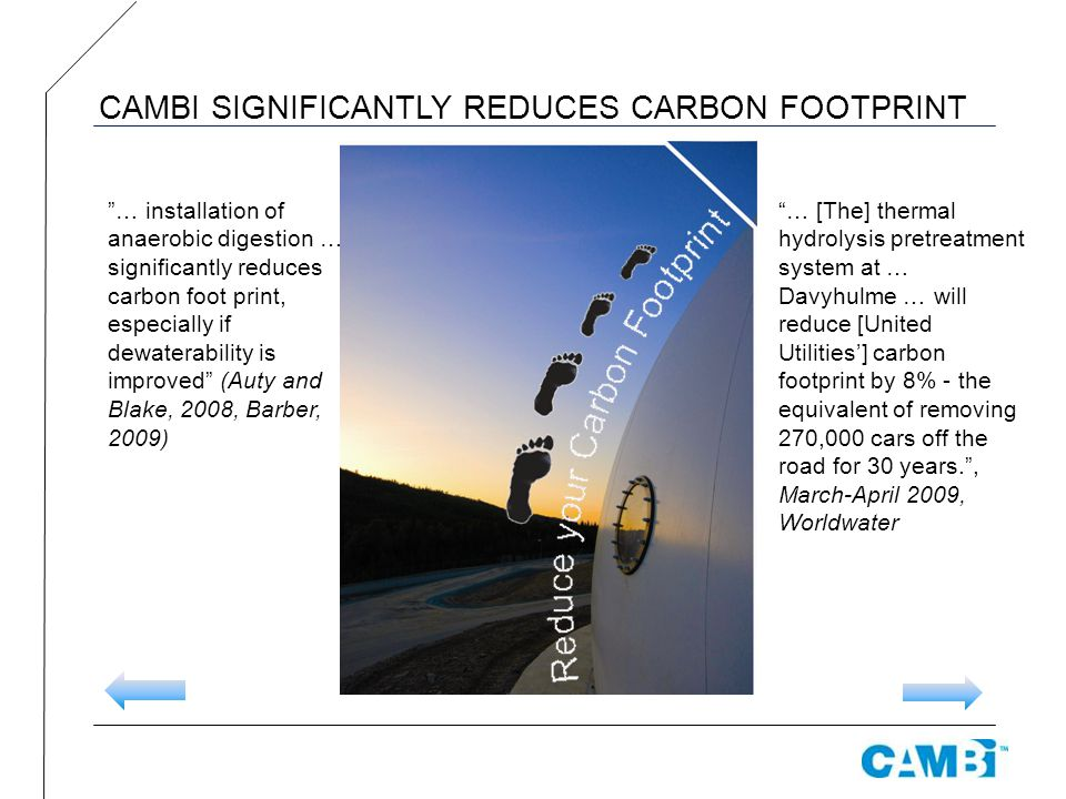 CAMBI SIGNIFICANTLY REDUCES CARBON FOOTPRINT