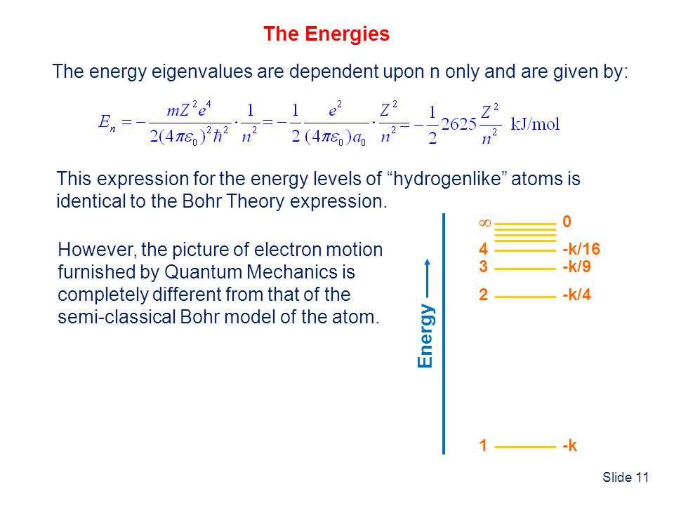 The Energies The energy eigenvalues are dependent upon n only and are given by: This expression for the energy levels of hydrogenlike atoms is.