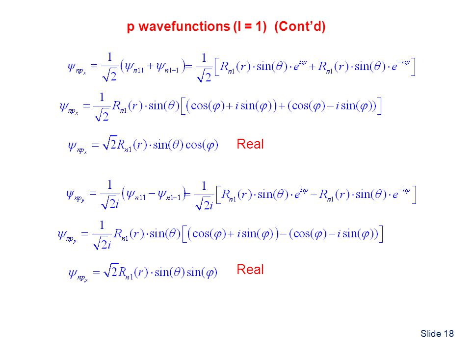p wavefunctions (l = 1) (Cont'd)