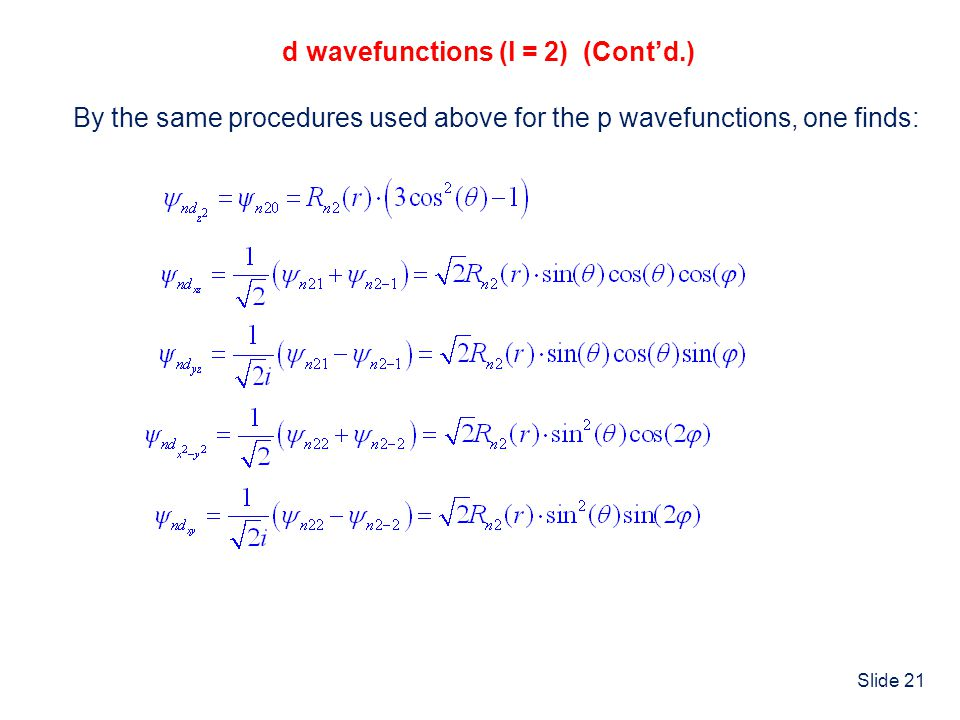 d wavefunctions (l = 2) (Cont'd.)