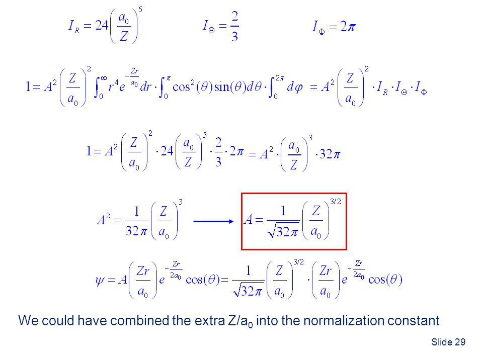 We could have combined the extra Z/a0 into the normalization constant