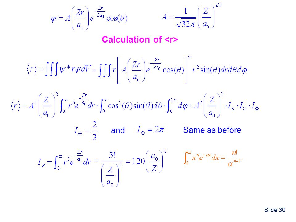 Calculation of <r>