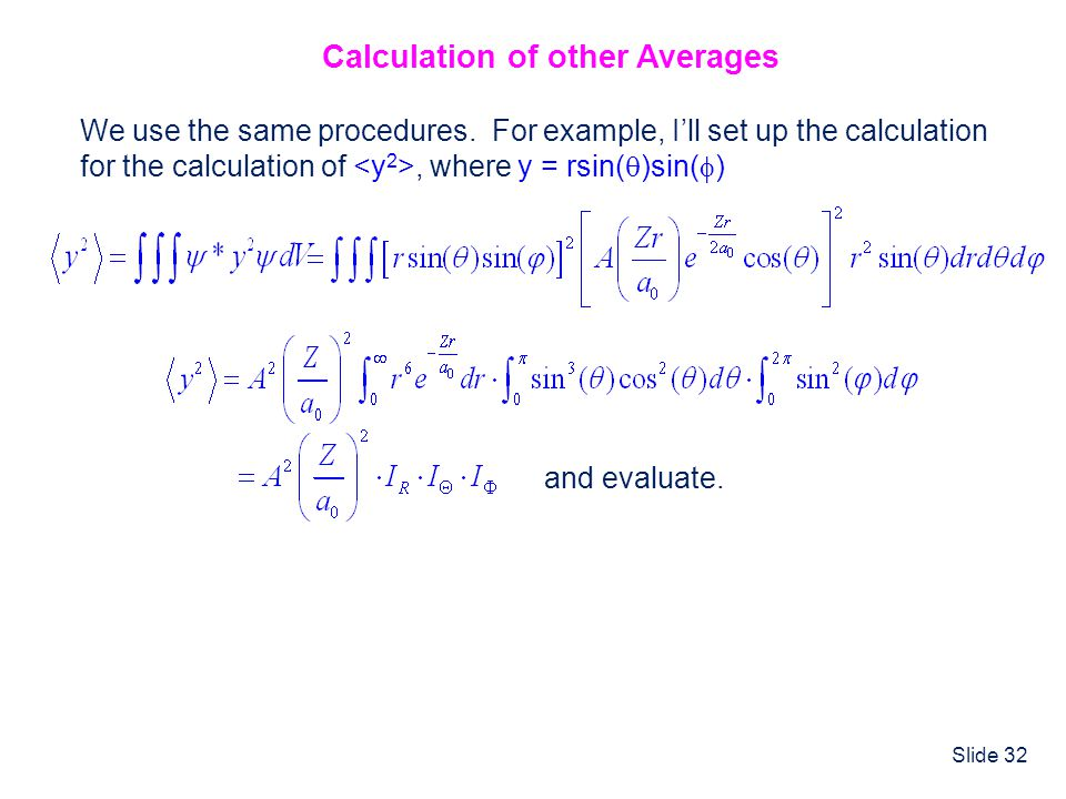Calculation of other Averages