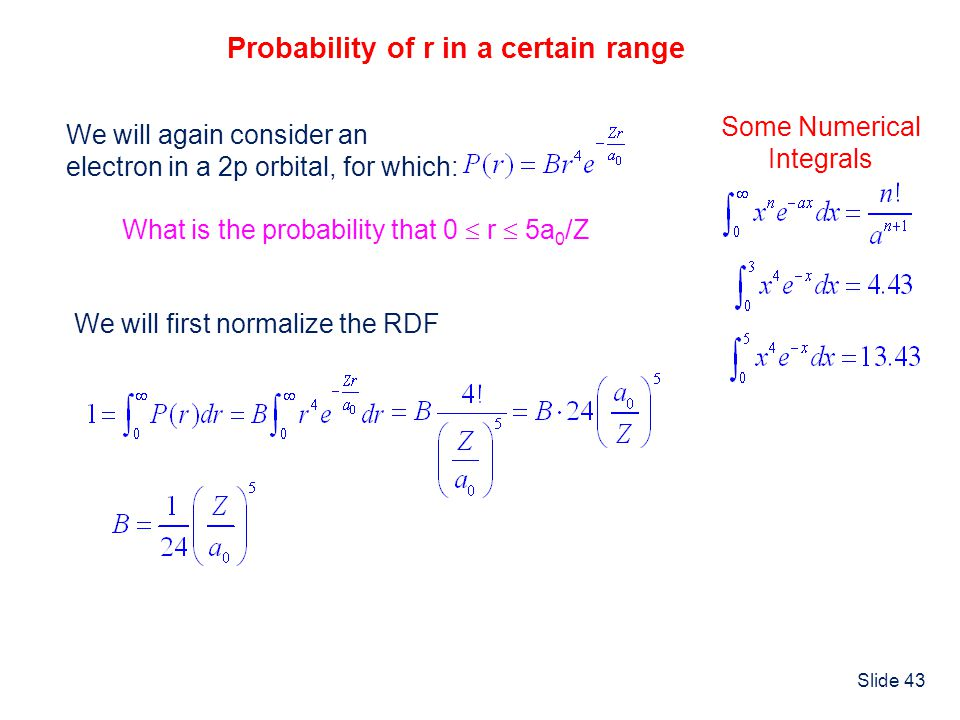Probability of r in a certain range