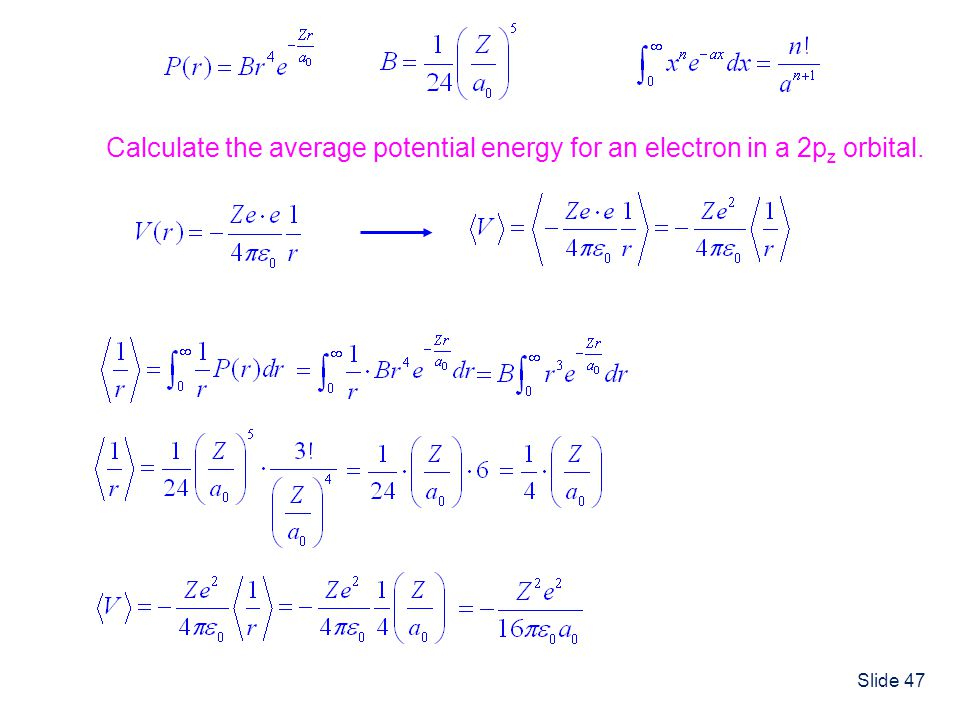Calculate the average potential energy for an electron in a 2pz orbital.