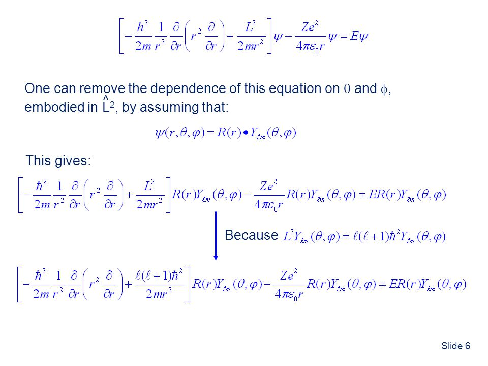 ^ One can remove the dependence of this equation on  and , embodied in L2, by assuming that: ^ ^