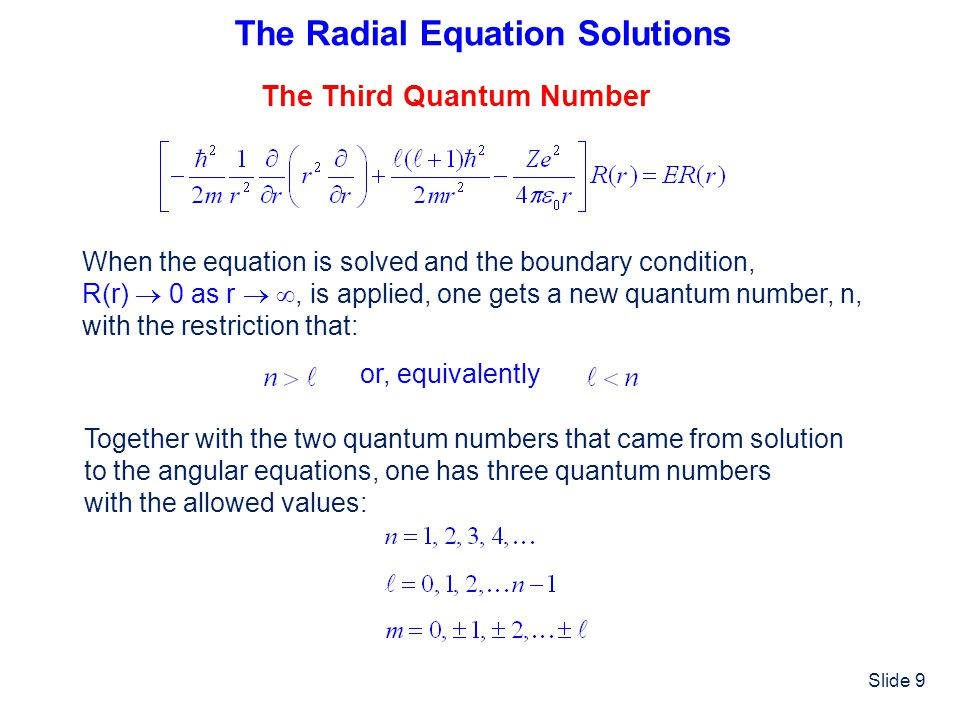 The Radial Equation Solutions