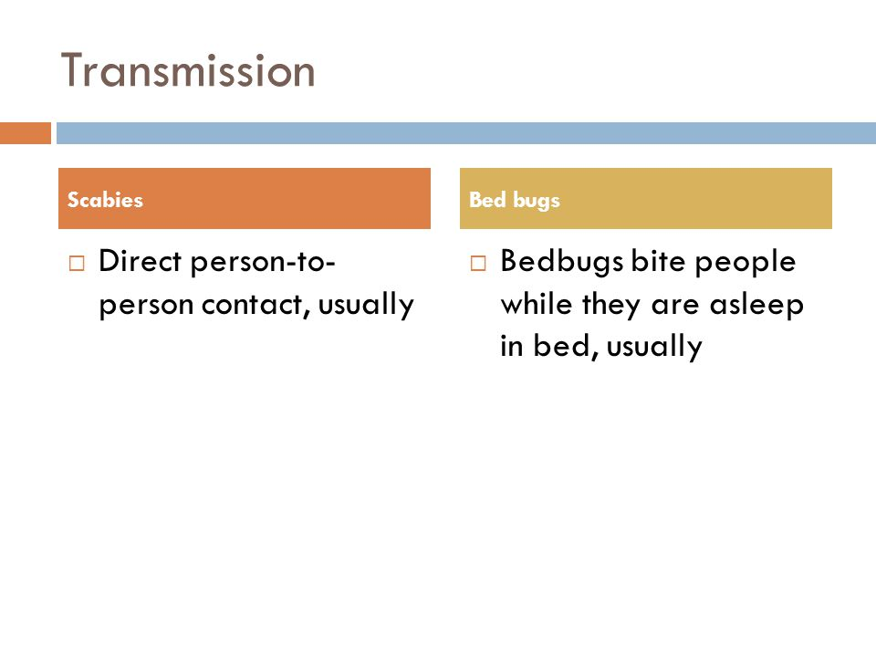Transmission Direct person-to- person contact, usually