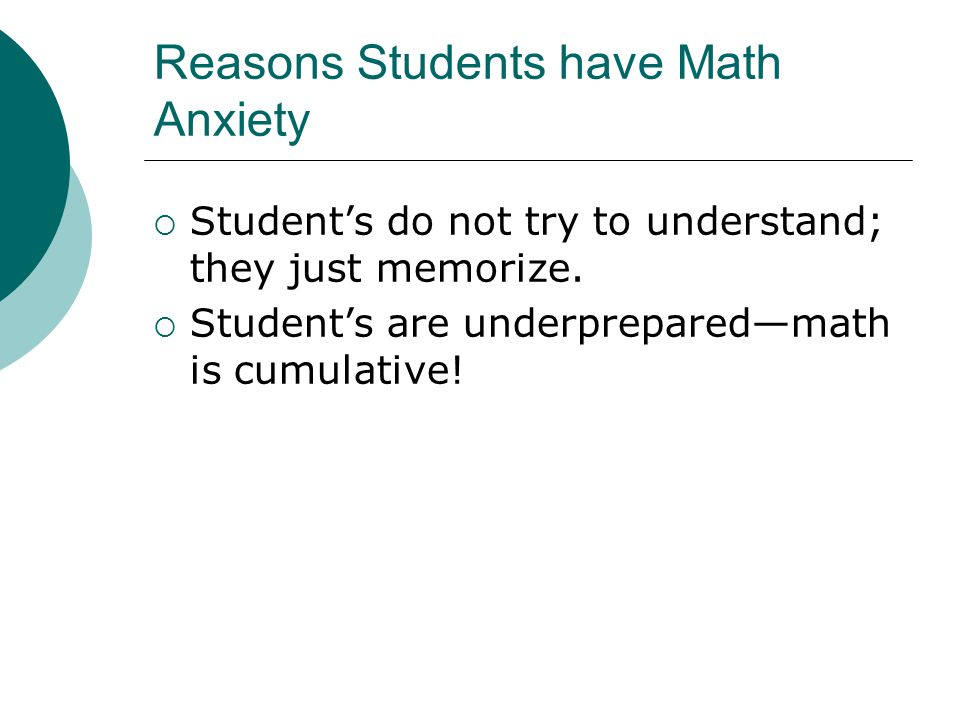 Reasons Students have Math Anxiety