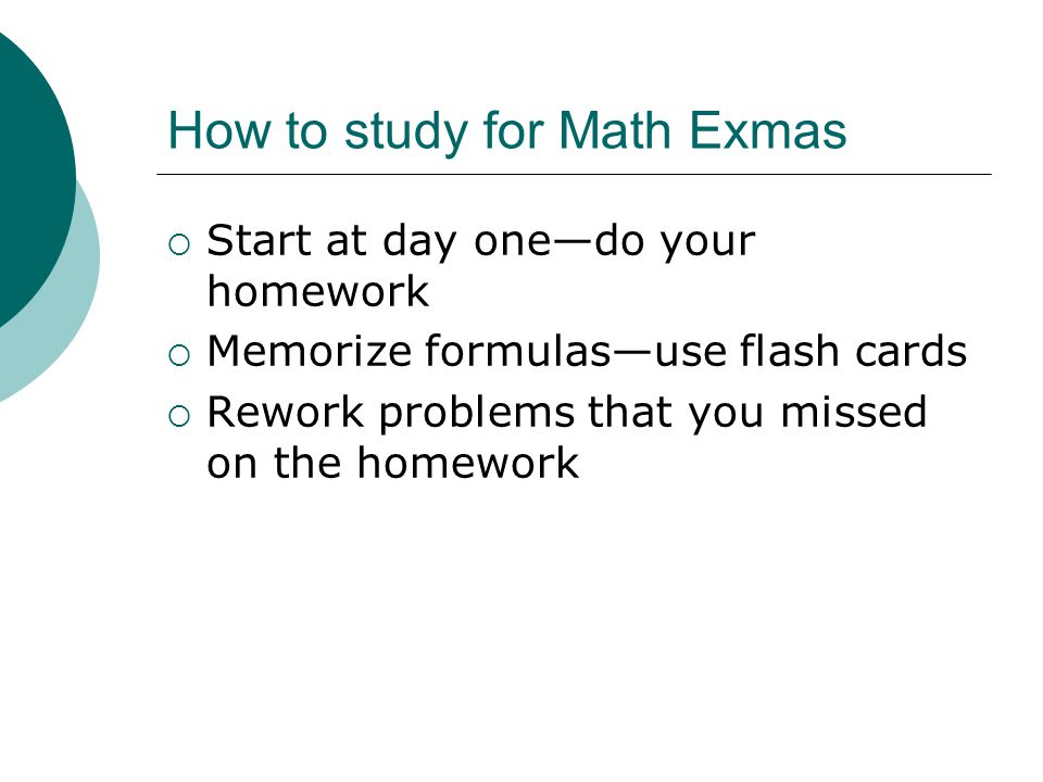 How to study for Math Exmas