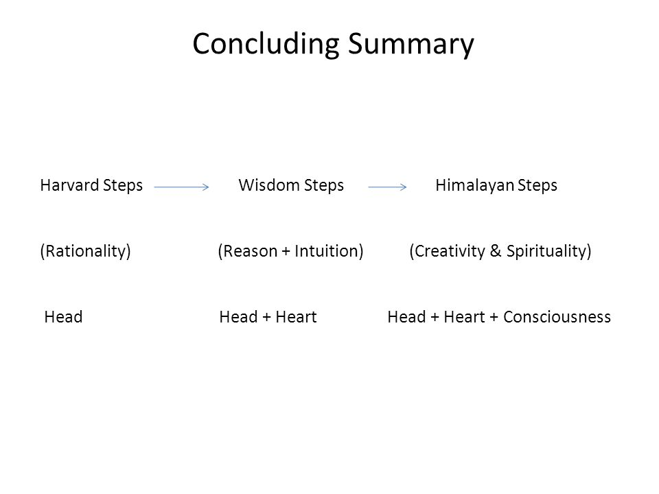 Concluding Summary Harvard Steps Wisdom Steps Himalayan Steps