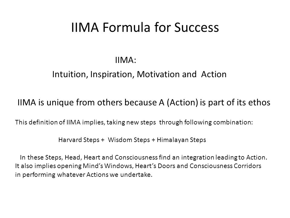 IIMA Formula for Success